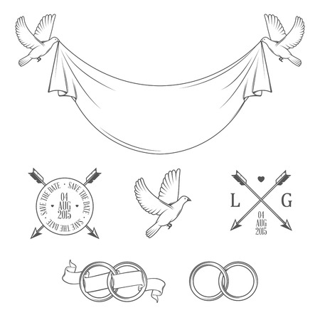 Set of vintage stamps and wedding invitation design elements Ilustracja