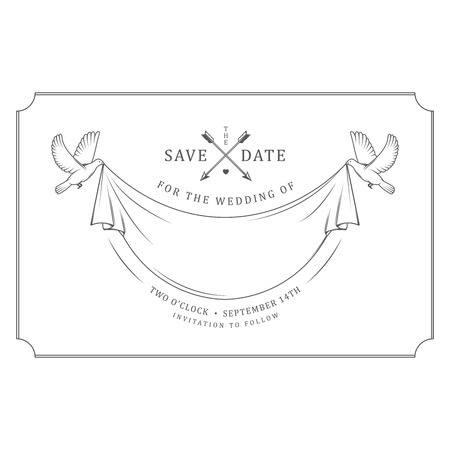 Vintage wedding invitation stamp with flying pigeons