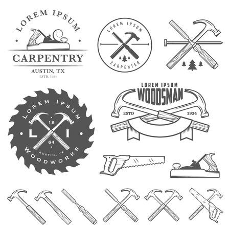 Conjunto de ferramentas de carpintaria vintage, rótulos e elementos de design