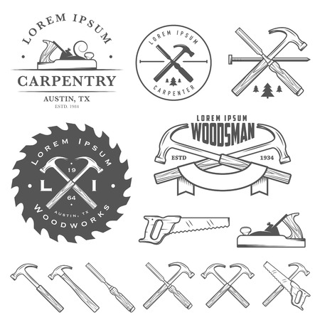 falegname: Set di strumenti di carpenteria d'epoca, etichette ed elementi di design