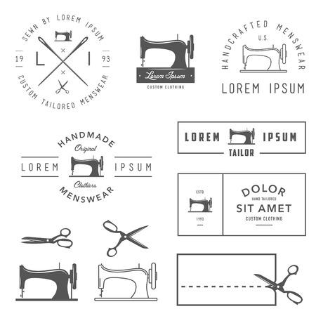 maquina de coser: Conjunto de etiquetas a la medida de la vendimia, escudos y elementos de dise�o