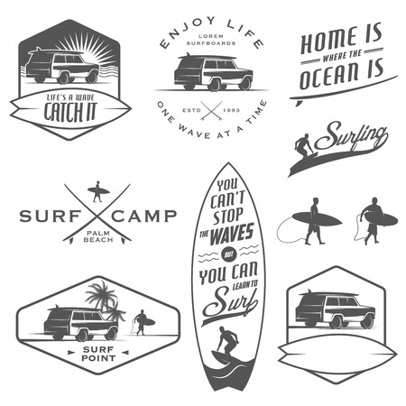 Set of vintage surfing labels, badges and design elements