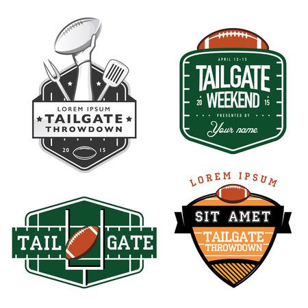 アメリカン フットボールのテールゲート党ラベル、バッジおよびデザイン要素のセット