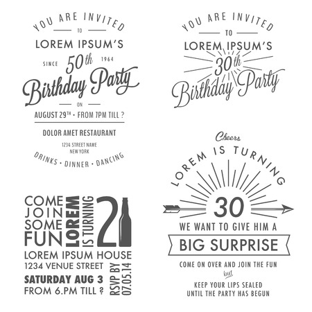 and invites: Set of adult birthday invitation vintage typographic design elements