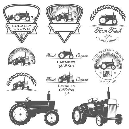felder: Set Retro Landwirtschaft Etiketten, Abzeichen und Design-Elemente Illustration
