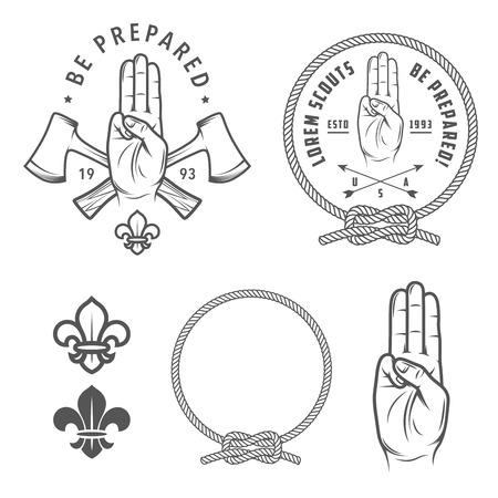 pfadfinderin: Scout Symbole und Design-Elemente