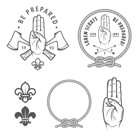 Scout symbols and design elements Illustration