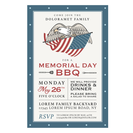 independence day america: Vintage Memorial Day barbecue invitation