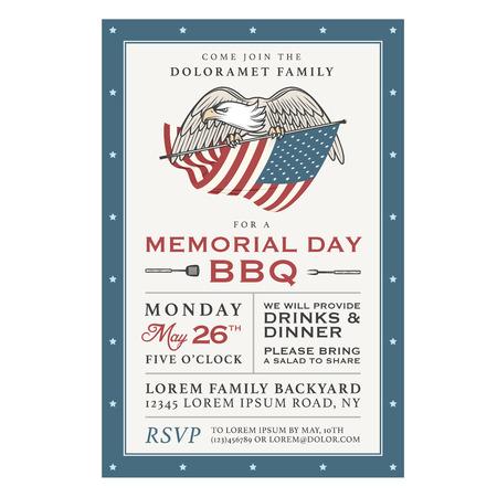 patriotic eagle: Vintage Memorial Day barbecue invitation