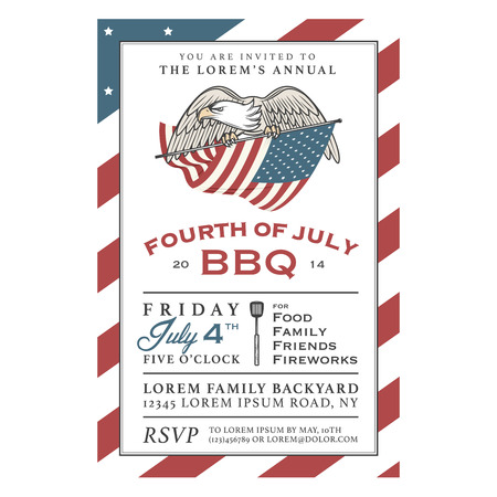 Vintage 4th of July Independence Day barbecue invitation Ilustração