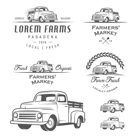 camioneta pick up: Conjunto de etiquetas de cultivo retro, insignias y elementos de diseño