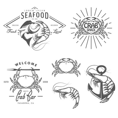 shrimp: Set of vintage seafood labels, badges and design elements Illustration
