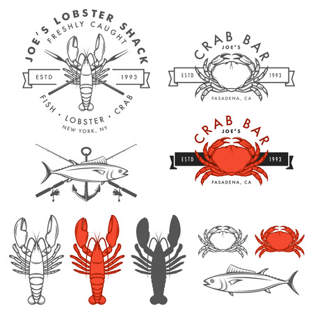 Set of retro seafood, crab, lobster, fish design elements