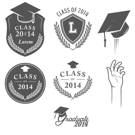 birrete de graduacion: Conjunto de etiquetas de graduación de la vendimia, escudos y elementos de diseño Vectores