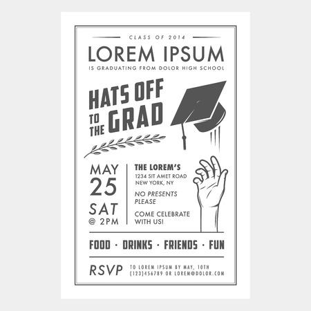 invitaci�n vintage: Tarjeta de invitaci�n de la fiesta de graduaci�n de la vendimia