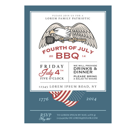 Vintage 4th of July Independence Day barbecue invitation Ilustracja