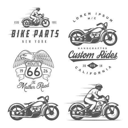 casco de moto: Conjunto de etiquetas de la motocicleta del vintage, escudos y elementos de diseño