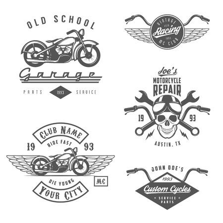 Conjunto de etiquetas de la motocicleta del vintage, escudos y elementos de diseño Foto de archivo - 29455164