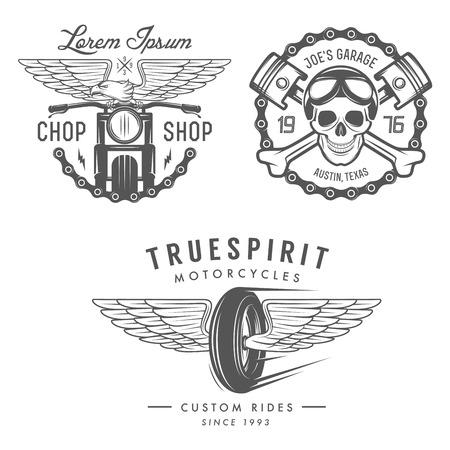 빈티지 오토바이의 레이블, 배지 및 디자인 요소의 집합 일러스트