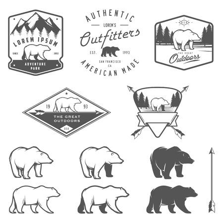 oso negro: Conjunto de la vendimia oso iconos, emblemas y etiquetas