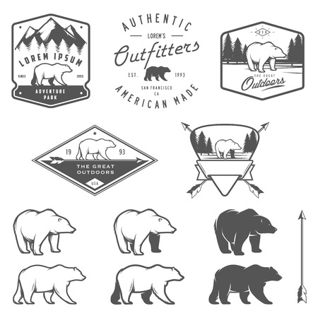 Set of vintage bear icons, emblems and labels Illusztráció
