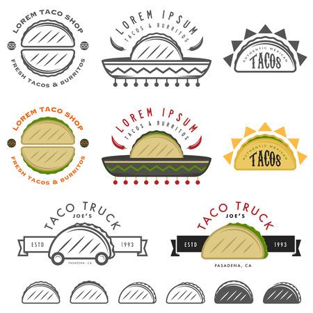Retro Mexican taco design elements Ilustracja
