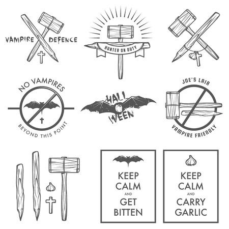 vampire bat: Funny vintage Halloween vampire labels, signs and design elements Illustration