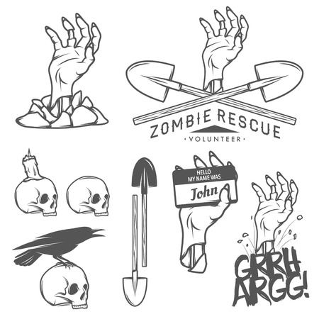 hand shovel: Funny vintage Halloween zombie labels, signs and design elements