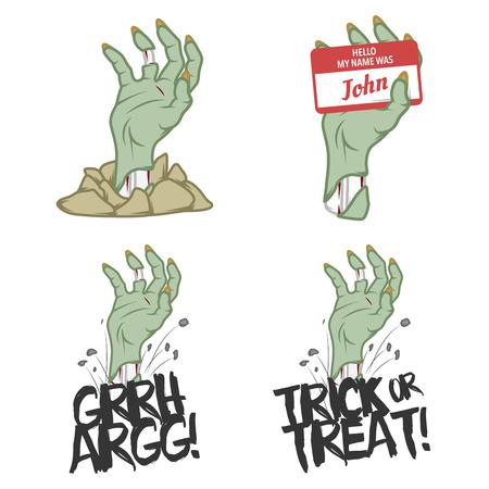 Funny Halloween zombie hand design elements Vector