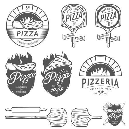 pizza: Etiquetas pizzeria Vintage, insignias y elementos de dise�o