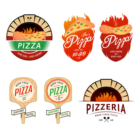 wood sign: Vintage pizzeria labels, badges and design elements