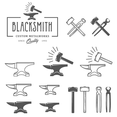 Vintage blacksmith labels and design elements Çizim