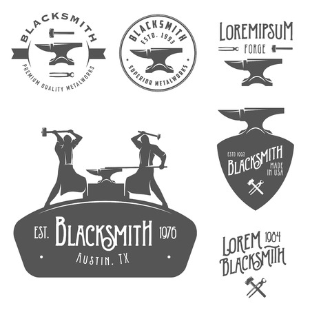 blacksmith shop: Set of vintage blacksmith labels and design elements