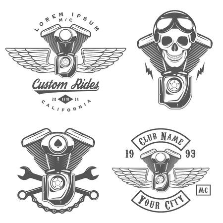 casco moto: Conjunto de etiquetas de motocicletas de �poca, escudos y elementos de dise�o