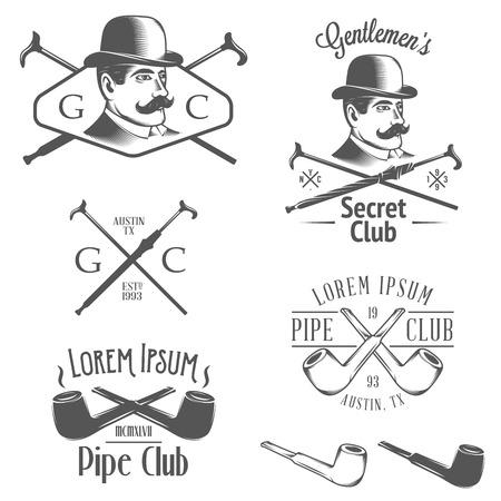 Set of vintage gentlemen?s club design elements