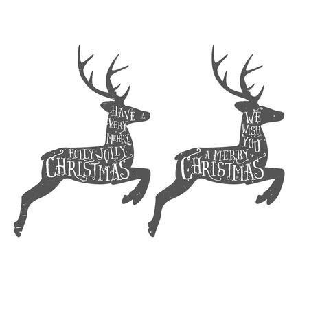 Vintage Christmas typographic greeting on a reindeer