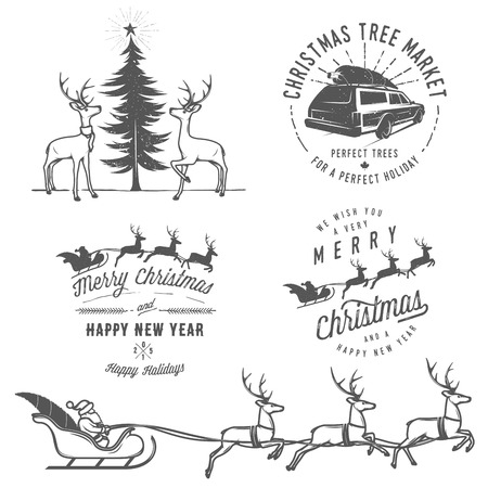 Vintage Christmas labels, badges and design elements