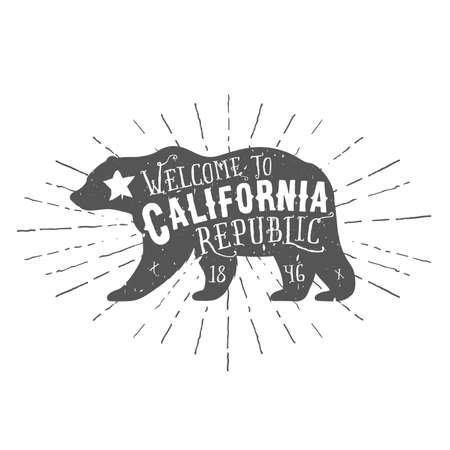 Vintage California Republic bear with sunbursts