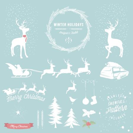 Winter Holidays designers toolkit Ilustracja