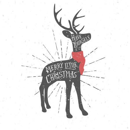 Vintage Christmas greeting card with reindeer