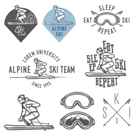 Set of retro ski emblems, badges and design elements