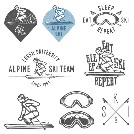 downhill skiing: Set of retro ski emblems, badges and design elements