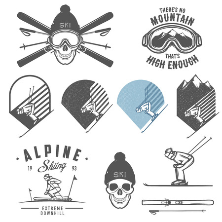 sport silhouette: Set of retro ski emblems, badges and design elements