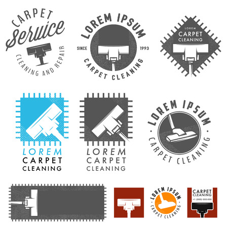 dirty carpet: Set of retro carpet cleaning labels, emblems and design elements