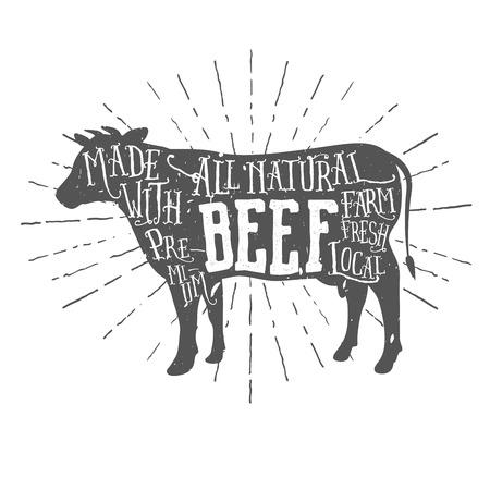 carnicero: Etiqueta tipográfica carne vacuna de alta calidad de la vendimia Vectores