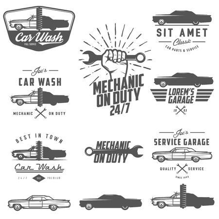 garage automobile: Ensemble d'�tiquettes de service de voiture, embl�mes et �l�ments de conception