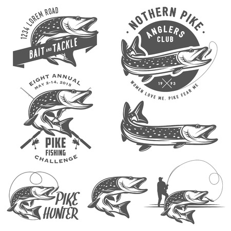 trout fishing: Vintage pike fishing emblems, labels and design elements
