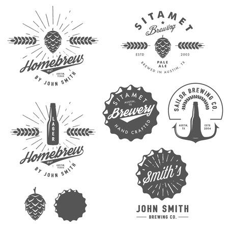 botellas de cerveza: Emblemas fábrica de cerveza artesanal del vintage, etiquetas y elementos de diseño