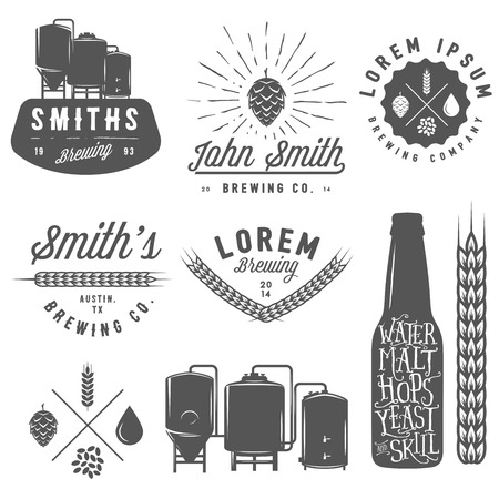 glasses of beer: Vintage craft beer brewery emblems, labels and design elements