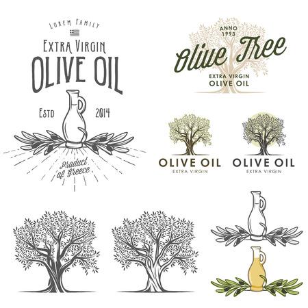 aceite de oliva: Oliva etiquetas de aceite y elementos de diseño Vectores